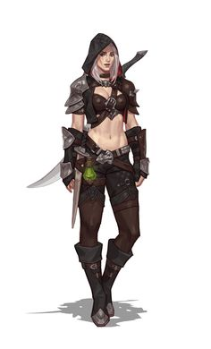 ArtStation - A thief with two swords & poison, Junq Jeon Fantasy Girl, Fantasy Female Warrior, Fantasy Armor, Fantasy Women, Female Character Concept, Fantasy Character Design, Character Design Inspiration, Character Art, Dungeons And Dragons Characters