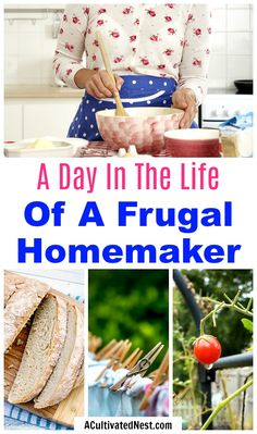 A Day In The Life Of a Frugal Homemaker- Adding some frugal living ideas into your life isn't as hard as you may think! For some fun inspiration, take a look at a day in the life of a frugal homemaker! Living On A Budget, Frugal Living Tips, Frugal Tips, Saving Ideas, Money Saving Tips, Money Savers, Money Tips, Way Of Life, The Life
