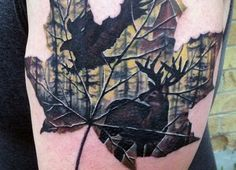 Leaf Hunting Tattoo For Males