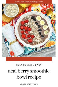 How to make acai berry bowl recipe. This mixed berry acai bowl is an easy and healthy breakfast recipe. Learn how to make a smoothie bowl recipe easy with banana for a healthy breakfast bowl. A vegan smoothie bowl uses almond milk. Add your favorite smoothie bowl recipe toppings. Acai berry smoothie bowl recipes is a healthy breakfast. Make an acai berry bowl recipe like the tik tok videos. Acai Berry Bowl, Acai Berry Powder, Mixed Berry Smoothie, Berry Smoothie Recipe, Smoothie Bowl, Vegan Breakfast Smoothie, Vegan Smoothies, Almond Milk, Yummy Drinks