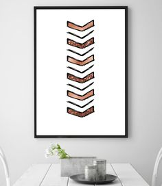 Rose gold chevron foil & glitter digital print poster. Copper pink printable home decor download, living area, nursery wall art. HQ 8x10inch  This