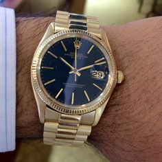 Rolex Date 1503 Yellow Gold Black Dial Watch