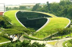 The new Green Roof Building at the School of Art, Design and Media at Nanyang Technological University in Singapore is a great example of Green Roof Building. This building innovatively integrates natural scenery and the business world through glass walls and new architectural technology. The structure's roof is covered by turf, which helps circulate air around the building, thus reducing its temperature.