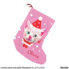custom name cute girly Christmas stocking Small Christmas Stocking