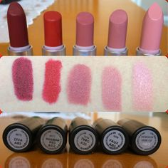 Mac lipstick swatch. Diva, Russian Red, Twig, Faux, Cream Cup. My Mac collection!