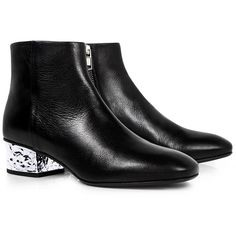Mcq Alexander Mcqueen - Shacklewell Foil Heel Ankle Boots ($580) ❤ liked on Polyvore featuring shoes, boots, ankle booties, round toe ankle boots, ankle boots, short black boots, black bootie boots and black shootie