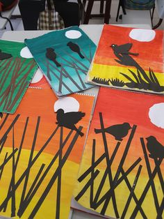 African Art Projects, Summer Art Projects, Animal Art Projects, Fall Art Projects, School Art Projects, September Art, 3rd Grade Art Lesson, 6th Grade Art, Ideas