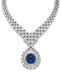 A SAPPHIRE AND DIAMOND NECKLACE, BY MOUAWAD The detachable pendant/brooch centering upon a sugarloaf cabochon sapphire, weighing approximately 131.17 carats, in a tapered baguette-cut diamond frame and openwork square and triangular-cut diamond outer rim, enhanced by cabochon sapphire collets, suspended from a tapered flexible latticework band composed of square-shaped diamond-set elements linked by cabochon sapphire collets, bordered with a baguette-cut diamond line, mounted in gold