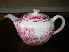 Homer Laughlin Currier Ives Red Teapot Tea Pot