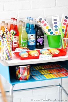 Art Colorful Rainbow Themed birthday party with lots of ideas via KarasPartyIdeas.com