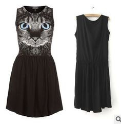 M L Free Shipping Women's European and American style Cat face charming dress #L92-inDresses from Apparel & Accessories on Aliexpress.com