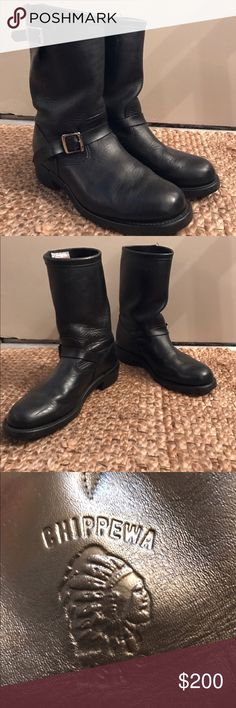 Men's Chippewa Leather Motorcycle Boots Genuine leather black men's Chippewa motorcycle boots. Great condition, hardly worn! Considering all reasonable offers :-) Chippewa Shoes Boots