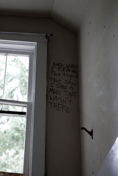 "Creepy! This message in an abandoned home in the ghost town of Gilman, Colorado, reads: ""And when I reached the top of the stair, I saw a man that wasn't there."""