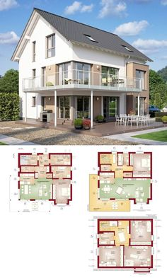Modern two-family house with separate apartment & gable roof architecture - building house floor Bungalow House Plans, Loft House, Dream House Plans, House Floor Plans, House With Granny Flat, Architecture Design, Prefabricated Houses, Contemporary Style Homes, Facade House