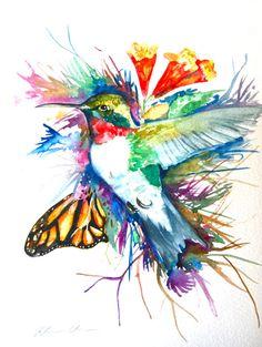 Watercolor Painting Humming Bird Original Art 9x12 by WoodPigeon