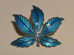 BERNARD MELDAHL NORWAY SILVER BLUE ENAMEL MAPLE LEAF BROOCH | eBay