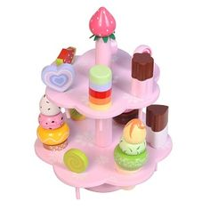 WOODEN ICECREAM TOWER - $38.95 - This gorgeous wooden icecream tower is a fun, imaginative and educational way for toddlers to learn.   Painted with non toxic paint this two layer tower sits all the different ice lollies and ice creams all neatly into the two tier stand.  Includes a double layer stand, 3 x icecreams, 9 ice lollies and fruit.   #sweetcreations #kids #girls #pretendplay #toys #gifts #toyslink