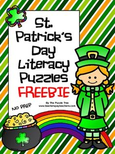 St. Patrick's Day Literacy Puzzles FREEBIE! Challenging and fun St. Patrick's Day themed puzzles!