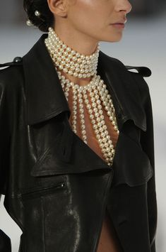 #Pearls and leather #fashion