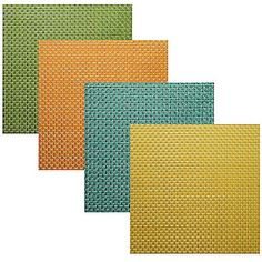 $2.99 BB&B The attractive Bistro Woven Vinyl Placemat brings a bright, stylish touch to your table setting. It's perfect for everyday use and entertaining. Made out of 100% woven vinyl it cleans easily with a damp cloth or sponge. Measures 14 L x 14 W.