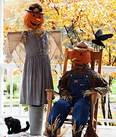 scarecrows my sister and family made this one year!its so cute.theyre just like family!lol! great ideas for decorating for a halloween in the country theme!