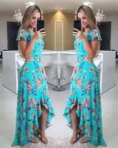 Fırfırlı Elbise Yeşil Uzun Kısa Kollu Asimetrik Kesim Etek Desenli - pionero de la cosmética, alimentación, moda y confección Cute Dresses, Beautiful Dresses, Prom Dresses, Summer Dresses, Ruffle Dress, Dress Skirt, Dress Up, Mode Hippie, Yeezy Outfit