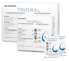 Oral Rehydration Salts (ORS) World Health Organization (WHO) New Formula for Food Poisoning, Hangovers, Diarrhea, Electrolyte Replacement (15 Packets Per Box) TriOral