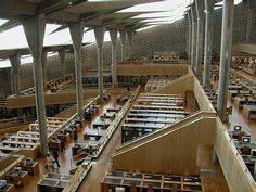 Inside the Bibliotheca Alexandrina, the new library of Alexandra completed in 2002 in commemoration of the ancient library of Alexandra.