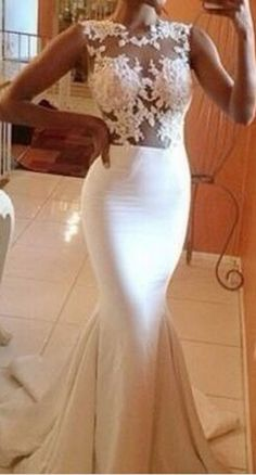 Newest Lace Long Prom Dresses,Sexy Prom Dresses,White Prom Dresses,Mermaid Prom Dresses,Prom Dress, Evening Dresses,Party Dresses
