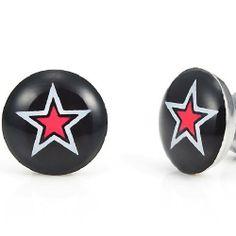 R&B Schmuck Herren Ohrstecker Ohrringe - Multi-Sterne Einzigartig (Durchmesser 10mm, Paar, Schwarz, Rot): 9,90€