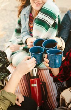camping and sharing coffee with friends