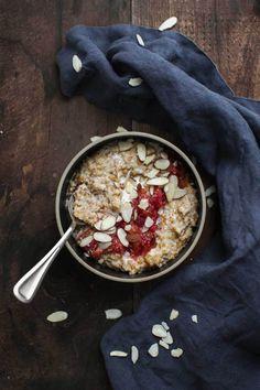 Cracked Einkorn Porridge with Stewed Blood Oranges and Almonds | Naturally Ella