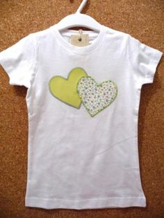 camiseta corazones verde limón  camiseta de algodón,tela de algodón estampada,hilos de bordar aplique cosido a mano,patchwork
