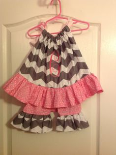 Chevron Pillow Case Dress  and Ruffle Pants Free by Pro31Boutique, $42.50