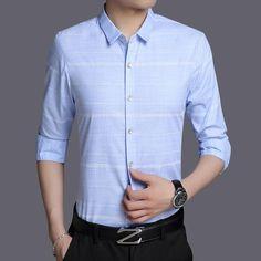 7097b70472784 Buy Shirt Long Sleeve Mandarin Collar Slim Fit Shirt Men Korean Business  Mens at Narvay.