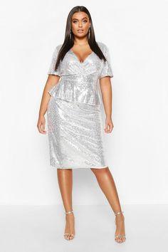 Womens Plus Sequin Peplum Wrap Midi Dress Silver Plus Size Dresses, Plus Size Cocktail Dresses, Plus Size Outfits, Grey Midi Dress, Dress Up, Skater Dresses, Maxis, Plus Size Shirt Dress, Curvy Dress