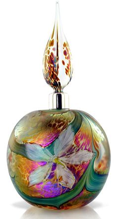 Si.Clematis Perfume - Designer: Richard Golding - Beautiful lampworked flower blossoms on a meandering vine, with sterling silver collar. / Okra Glass