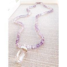 Amethyst and clear quartz pendant necklace; boho necklace; boho jewelry; crystal jewelry; amethyst jewelry; handmade necklace