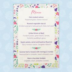 The Merry Meadow Flowers wedding menu has a pretty floral design. Choose from an individual guest menu or larger menu for the middle of the table. Yorkshire Pudding Gravy, Wedding Menu, Wedding Day, Wedding Colors, Wedding Flowers, Baby Grill, Sweet Carrot, Meadow Flowers, Summer Berries