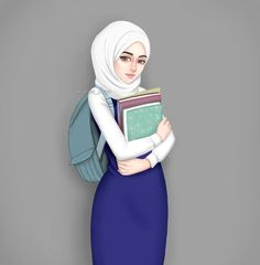 Back to school ⏩ Girly M, Cute Muslim Couples, Muslim Girls, Hijabi Girl, Girl Hijab, Girl Cartoon, Cute Cartoon, Photo Islam, Girly Drawings