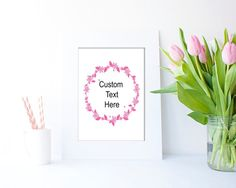 Pink Floral Wreath PSD with customizable text by Clickatoos