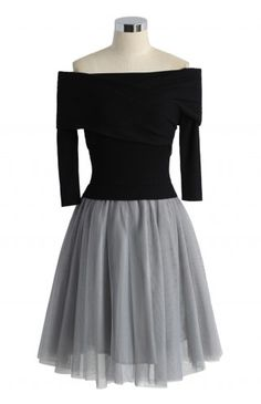 Wrap in Grace Off-shoulder Tulle Dress in Black - Retro, Indie and Unique Fashion
