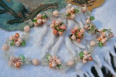 RESERVED Vintage Mad Men  Parure Flower Necklace/Earrings, W Germany. $78.00, via Etsy.