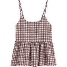 Flounce Checked Cami Top (275 MXN) ❤ liked on Polyvore featuring tops, flounce tops, flutter-sleeve tops, camisole tank, frilled top and frilly tank top