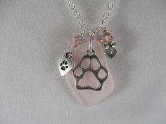 pink sea glass necklace, paw print necklace, pet lovers necklace, beach necklace, love my dog cat necklace, pet jewelry, pet memorial gift by Serenebaysidejewelry on Etsy