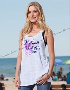 MI The Great Lakes State Flowy Tank.  Show your love for Michigan with this cute summer tank this season.
