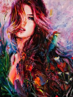 17. The artists uses multiple colors, a mixture of warm and cool colors to bring out the colorfulness of it. The lines define the woman's features and helps us distinguish her hair from the blending of the colors. The artist also uses different lighting which draws our attention to the lightest area, the woman's face.