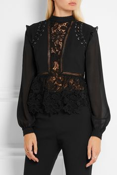 Self-Portrait | Lace-up georgette and guipure lace blouse | NET-A-PORTER.COM