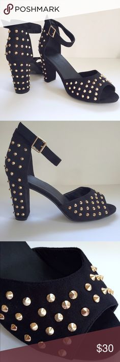 "Gold Spiked Block Heels Black faux suede & gold spike block heels Adjustable ankle strap Block heel helps keep balance while wearing  3.5"" heel  ✅ NWOT- never worn No trades and no low-balling. Listing price is fair. torrid Shoes Heels"