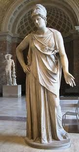 """Marble statue of Athena, known as """"Athena Mattei"""" - height m, Roman copy c. BC after Greek bronze model of the century BC - at the Louvre Museum"""